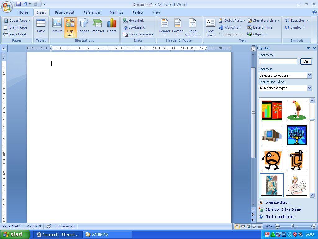 Cara Memasukkan Gambar Melalui Clip Art Pada Microsoft Word